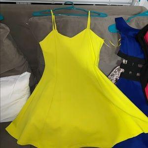 Yellow green skater skirt dress